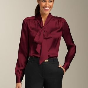 Talbots 8 Silk Charmeuse Tie Neck Button Blouse